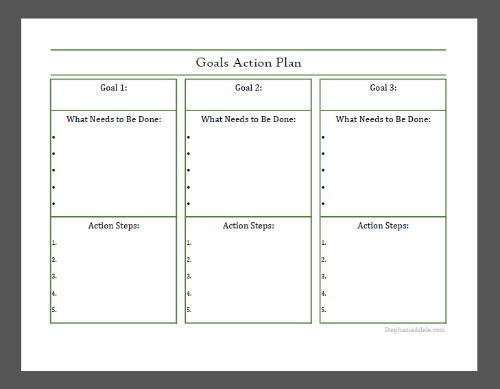 goal action plan Write down the goal that you want to make an action plan for over time you will want to do this for every goal that you set for yourself right now it is best to .