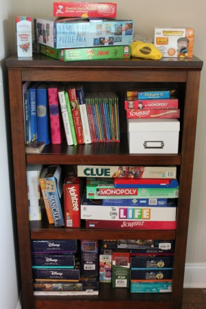 I created a game station with all of the board games, card games, and puzzles in one place along with a few of our children's books. This way, all of our options can be found here, and kids no where everything goes once it's time to clean up.